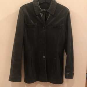 Kenneth Cole Black Leather Tailored Jacket, Size S